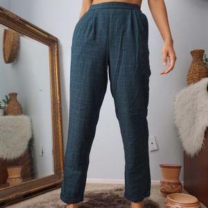 Vintage Green Blue Plaid Tartan High Waist Trouser